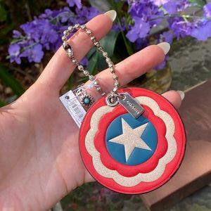 Coach Marvel Captain America Shield Red Key Charm